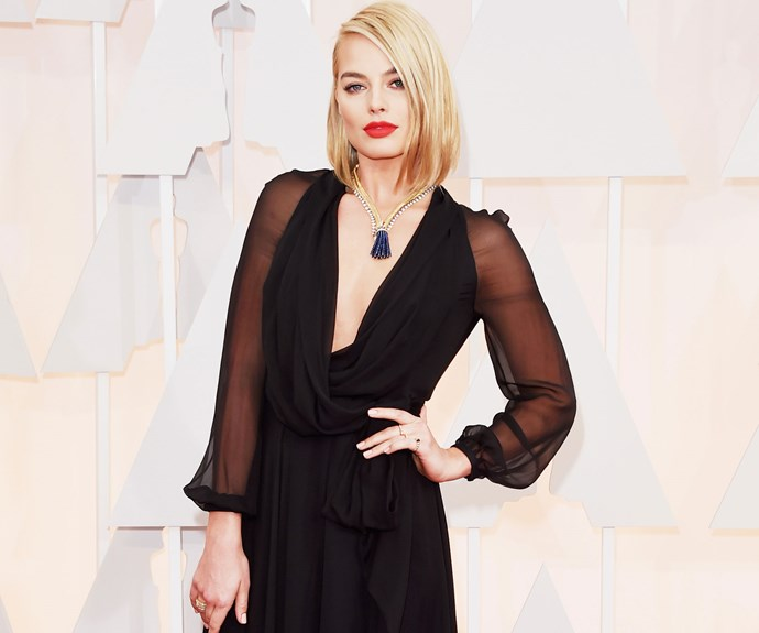 Aussie actress Margot Robbie's red lip is classic Hollywood - perfect for cinema's biggest awards night!
