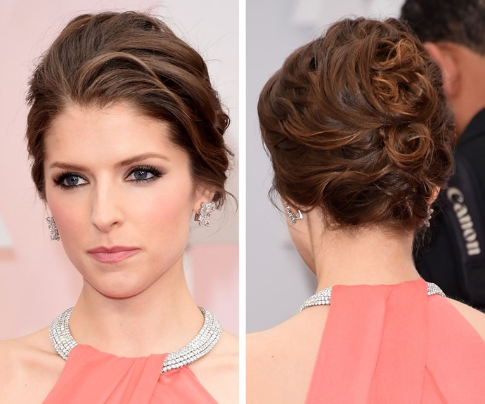 Anna Kendrick's elegant updo was the perfect finishing touch for her custom Thakoon gown.