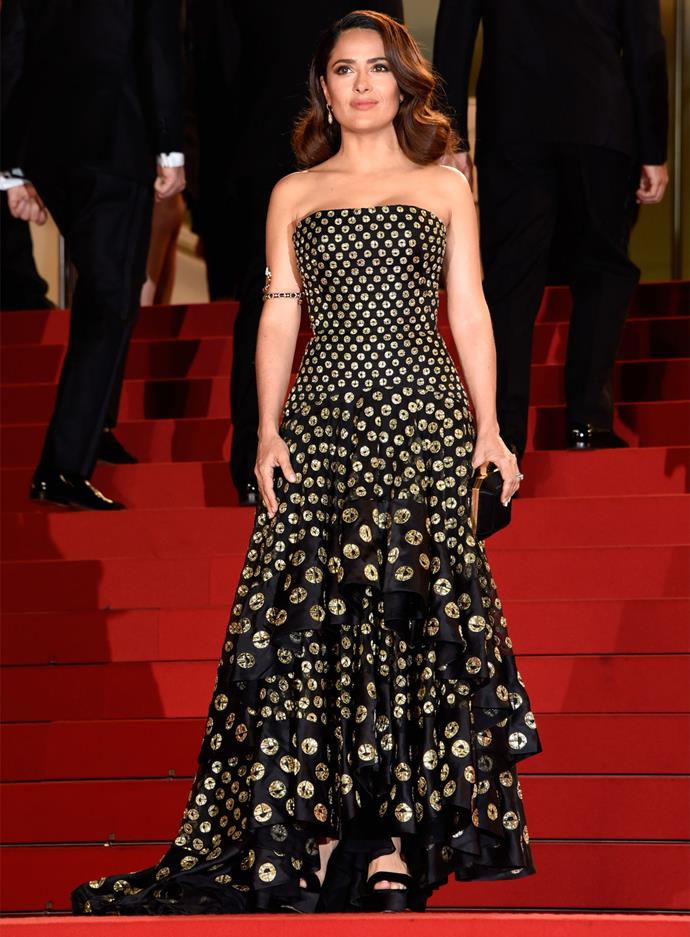 Salma Hayek wearing Alexander McQueen at the Cannes Film Festival.