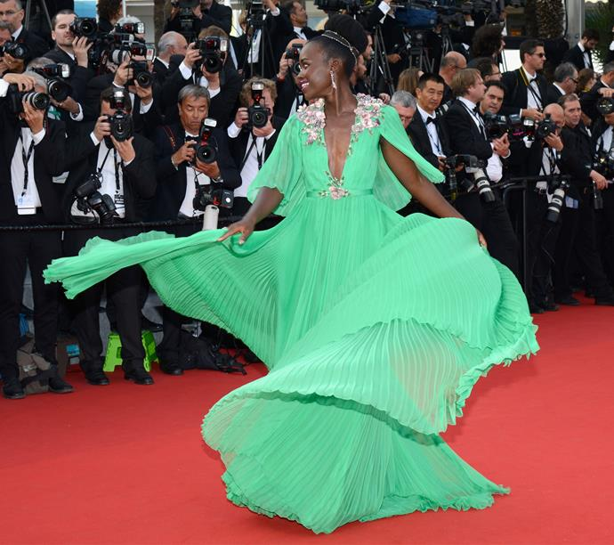 Lupita Nyong'o in emerald-green Gucci at the Cannes Film Festival.