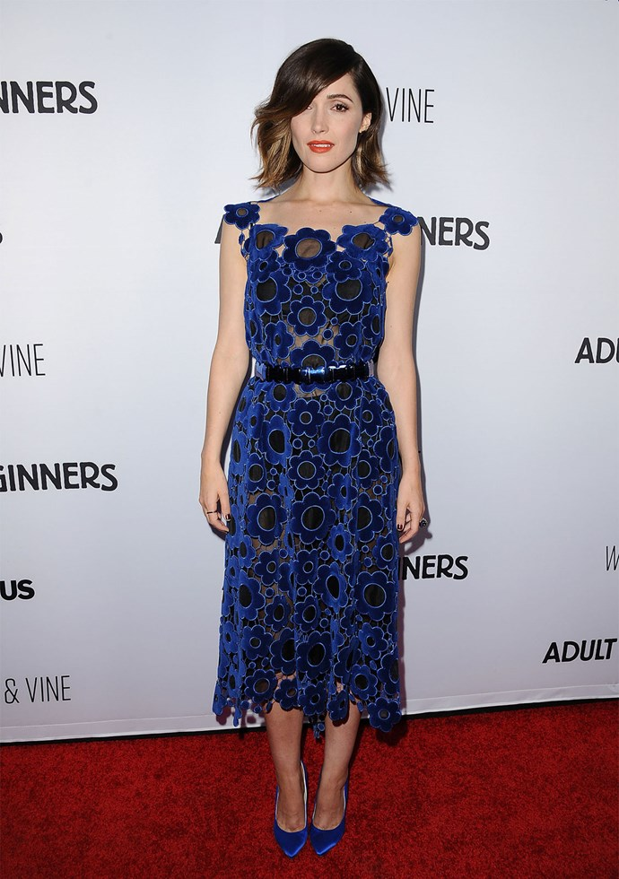 Rose Byrne in Christopher Kane at the premiere of 'Adult Beginners'.