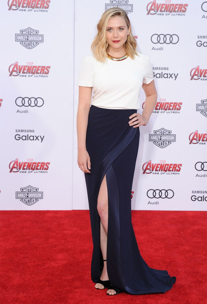 Elizabeth Olsen wearing Galvan at the 'Avengers: Age of Ultron' premiere.