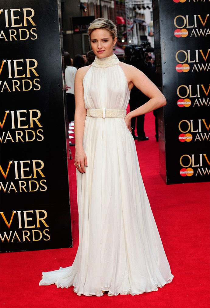 Dianna Agron in Alexander McQueen at the Olivier Awards.