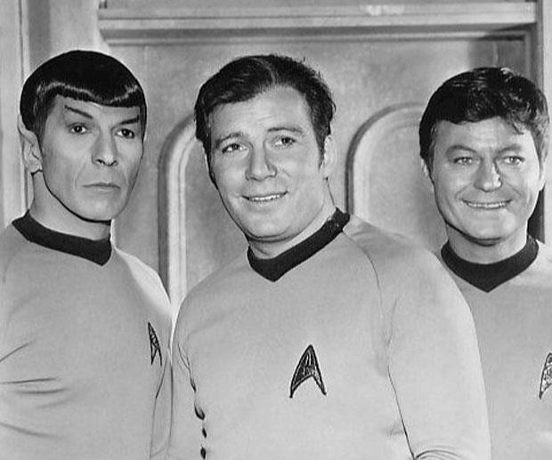 Leonard, William and DeForest Kelly ('Bones' McCoy) in a Star Trek shot. Image: Paramount Television
