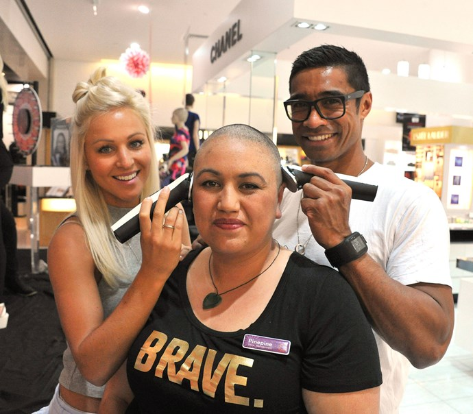 Kerry-Lee Dewing and Pua Magasiva celebrate Shave for a Cure